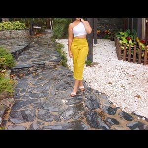 Yellow Tassel Hem Trousers